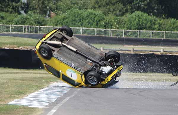 Mini crash at Goodwood